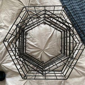 Hexagon 3 metal wall shelves/decor